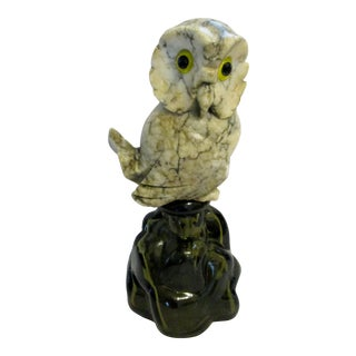 1969 Murano Moonscape Decanter With Italian Marble Owl Stopper for Luxardo For Sale