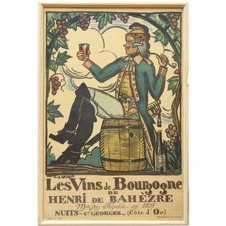 Early 20th C. French Print, Les Vins De Bourgogne De Henri De Bahezre, by Guy Arnoux For Sale