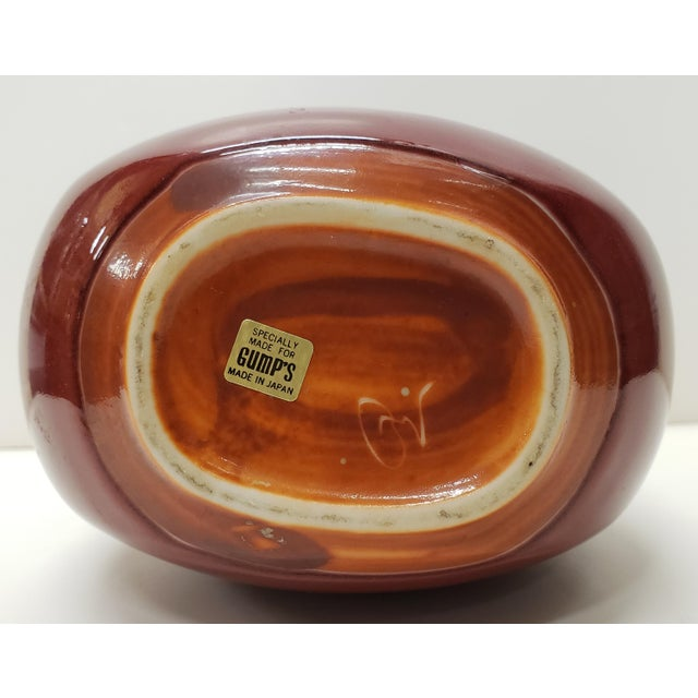Vintage Circa 1970 Chinese Style Ox Blood Porcelain Moon Flask Vase Made for Gump's in Japan For Sale In New Orleans - Image 6 of 7