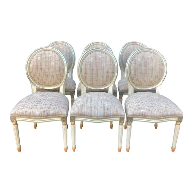 Set of 6 French Louis XVI Balloon Back Dining Chairs For Sale