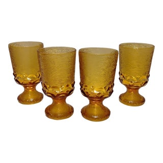Mid Century Textured Amber Glass Goblets - Set of 4 For Sale