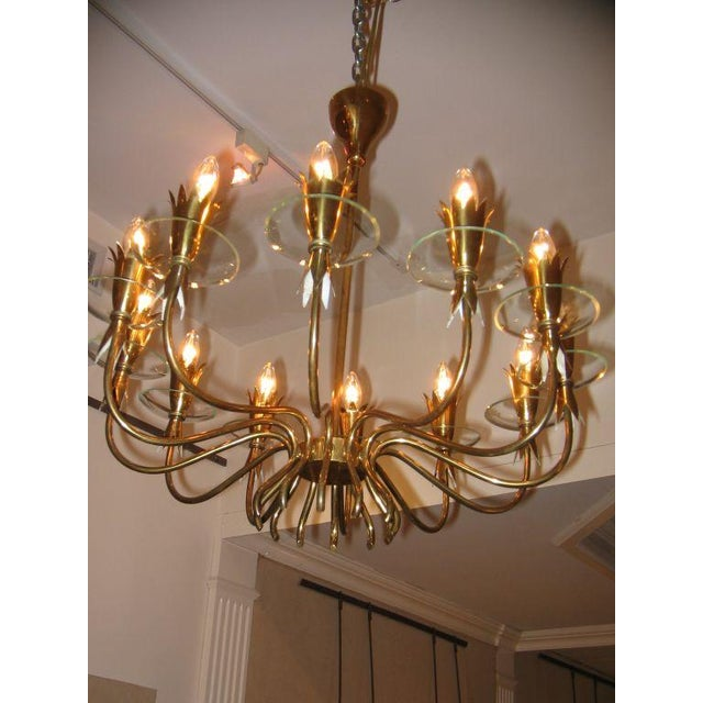 Fontana Arte Twelve light chandelier featuring a body in brass with curving arms that create a interesting bottom cage...