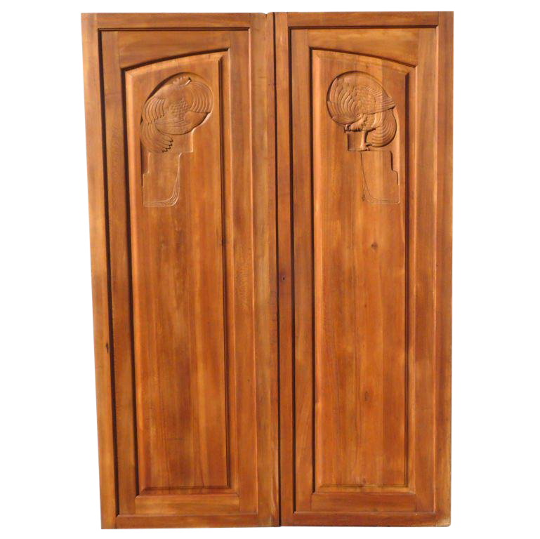 Superbe Large French Art Deco Carved Doors