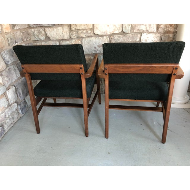 Danish Modern Mid Century Danish Modern Upholstered Arm Chairs - a Pair For Sale - Image 3 of 11
