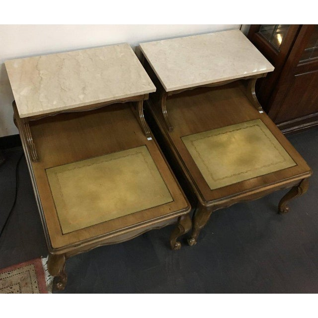 Antique French Style Marble Top Nightstands - A Pair - Image 3 of 10