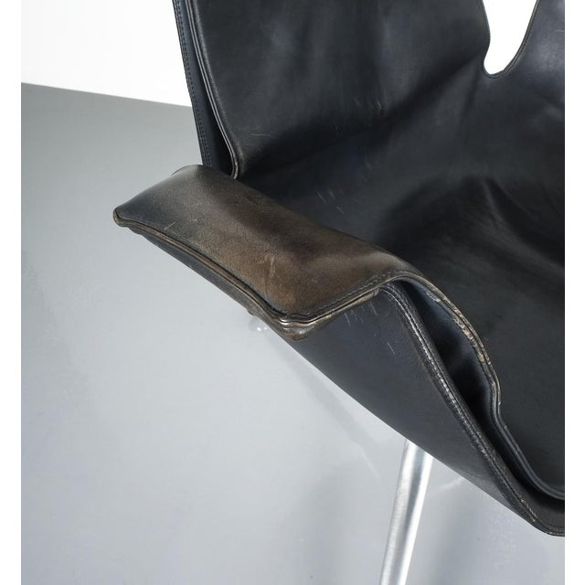 Mid-Century Modern Black Blue High Back Bird Desk Chair by Fabricius and Kastholm Fk 6725, 1964 For Sale - Image 3 of 12