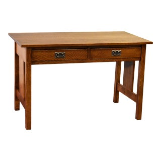 Crafters and Weavers Mission/Arts and Crafts Solid Oak Writing Desk For Sale