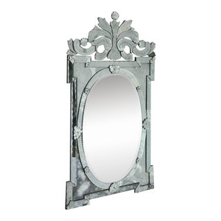 1940s Venetian Mirror With Hand Etched Designs For Sale