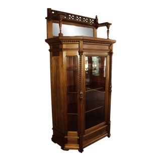 Antique Walnut China Cabinet With Gallery & Mirror For Sale