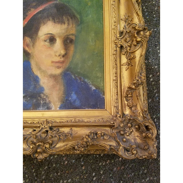 Original Mid-Century Young Lady Portrait Painting in a Carved French Gilt Frame - Image 3 of 5