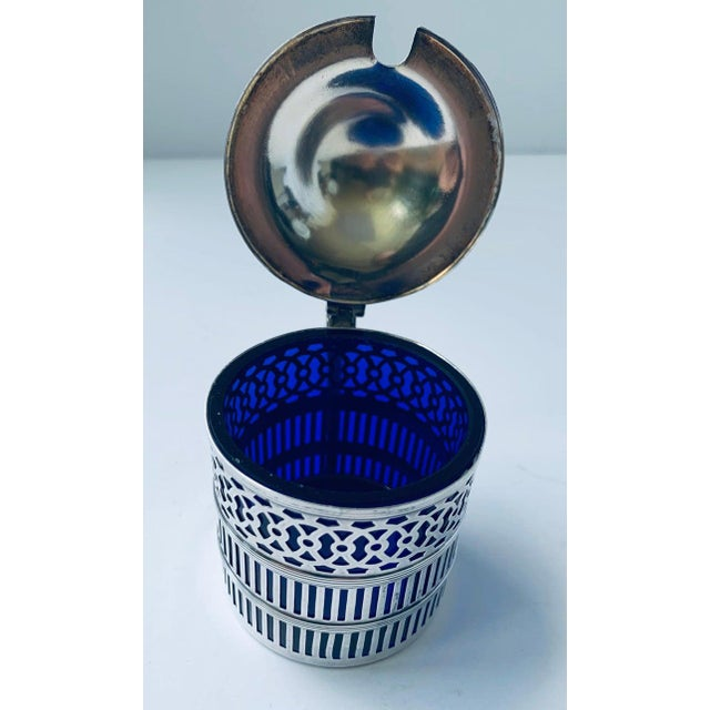 Early 20th Century Sterling Silver Mustard Pot With a Cobalt Blue Glass Liner For Sale - Image 5 of 9