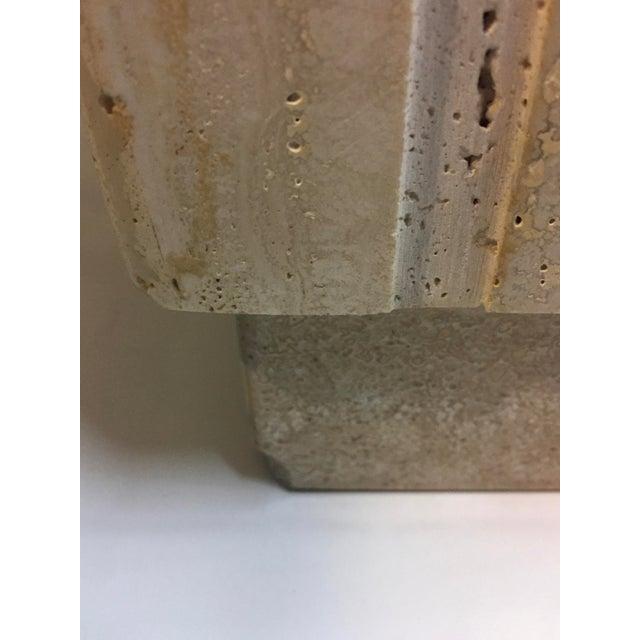 Cream Vertical Cut Travertine Console Pedestal For Sale - Image 8 of 10
