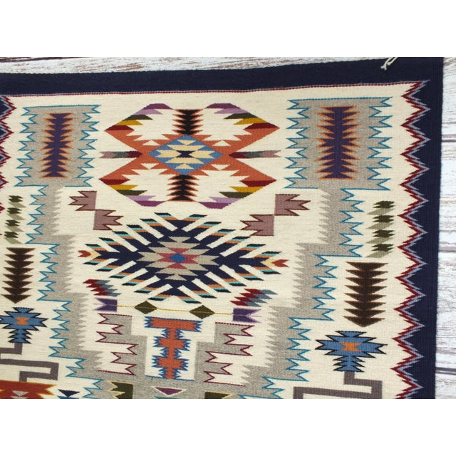 """Blue Navajo Rug Storm Pattern, Lily Touchin -- 2'10"""" x 4'2"""" For Sale - Image 8 of 10"""
