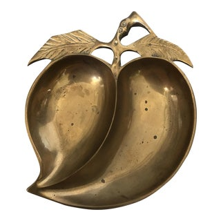 Vintage Brass Peach Dish Catchall For Sale