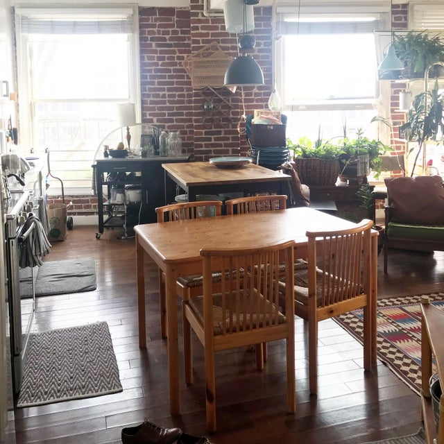 1960s Vintage Dining Table & 4 Pine Spindle Back and Rush Chairs - 5 Pieces For Sale In Los Angeles - Image 6 of 11