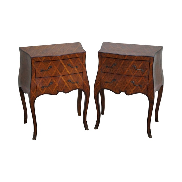 Vintage Italian Bombe Walnut Commodes Chests - Image 1 of 10