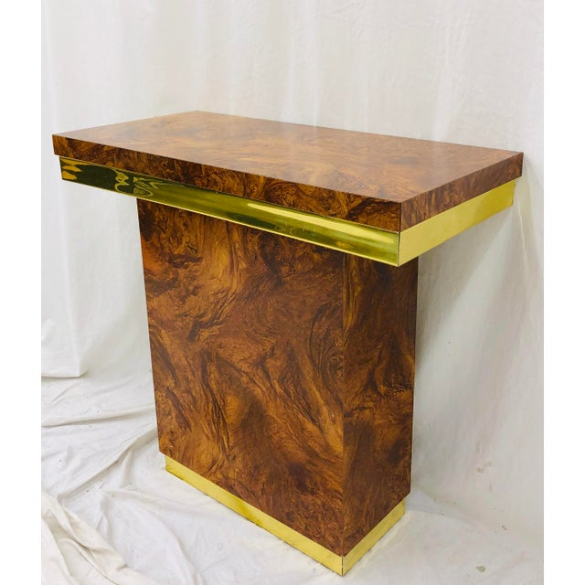 Metal Vintage Modern Burl & Brass Table For Sale - Image 7 of 12