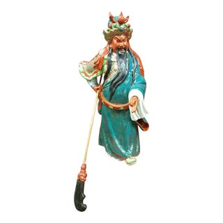 Mid-Century Chinese Porcelain Warrior Statue For Sale