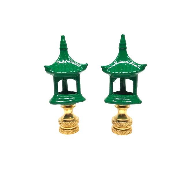 Green Porcelain Pagodas Lamp Finials - A Pair For Sale