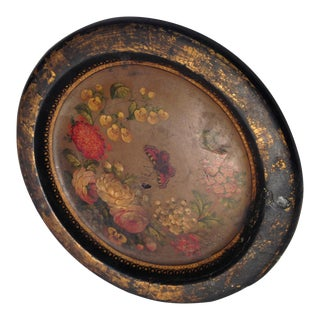 19th Century Vintage Hand Painted Paper Mache Tray With Flowers and Butterflies For Sale