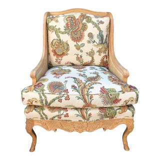 Louis XVI Style Double Cane Bergere Wingback Chair W Scalamandre Cushions For Sale