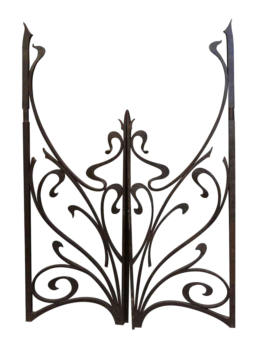 vintage used doors and gates for sale chairish 18th Century Barber Pole vintage mid century cast iron gates a pair
