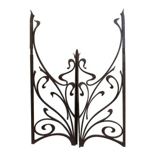 Vintage Mid-Century Cast Iron Gates - A Pair For Sale