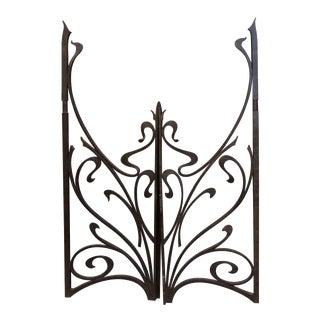 Vintage Mid-Century Cast Iron Gates - A Pair For Sale