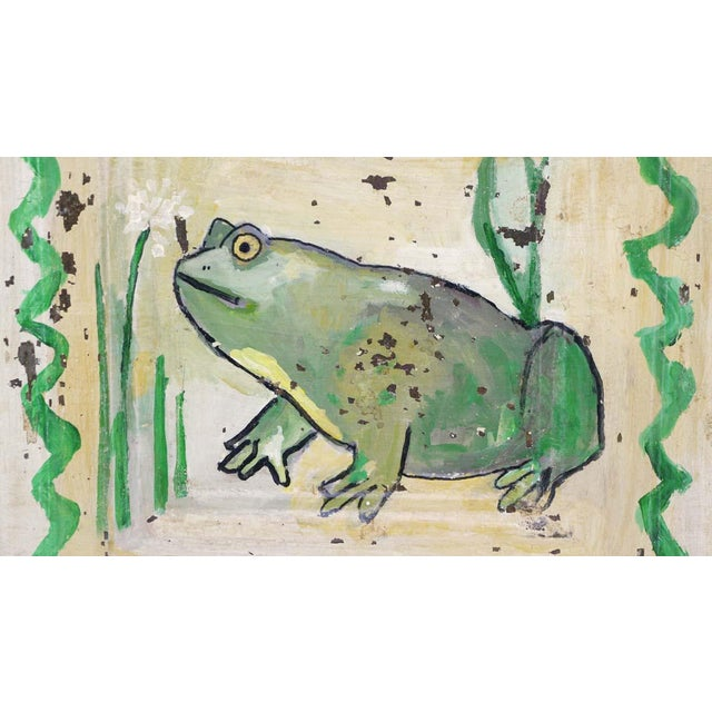 Traditional Mladen Novak Acrylic Frog Painting on Antique Tin Panel For Sale - Image 3 of 6