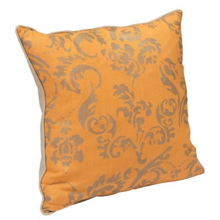 """Ravenna"" - Tangerine Hand Printed Pillow by Nomi For Sale"