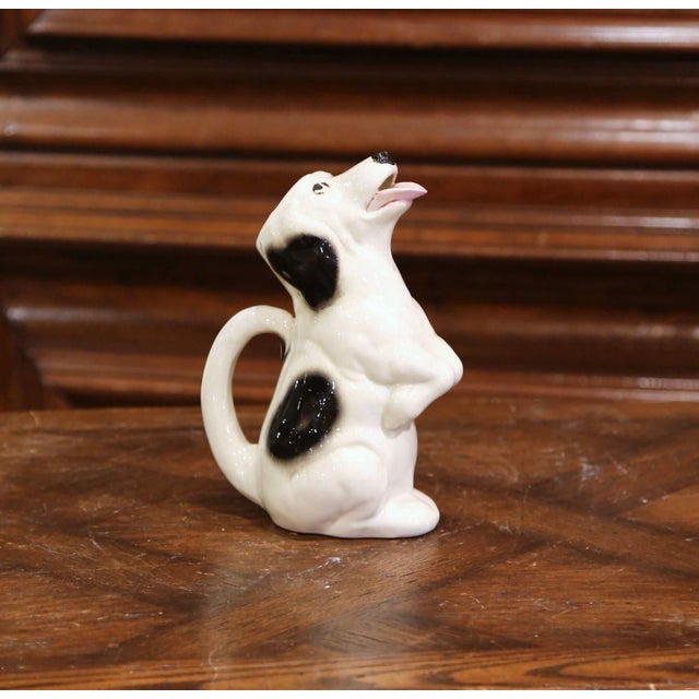 19th Century French Painted Barbotine Ceramic Dog Pitcher From Sarreguemines For Sale - Image 9 of 9