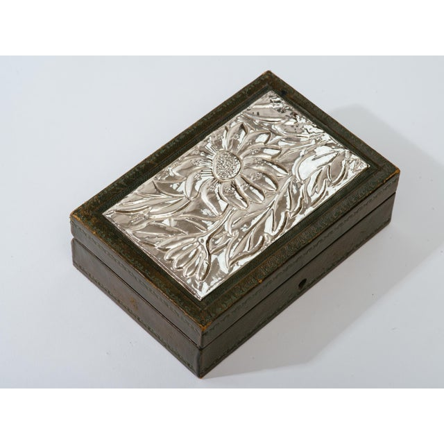 Mid 20th Century Italian Leather and Silver Repousse Jewelery Box For Sale - Image 5 of 12