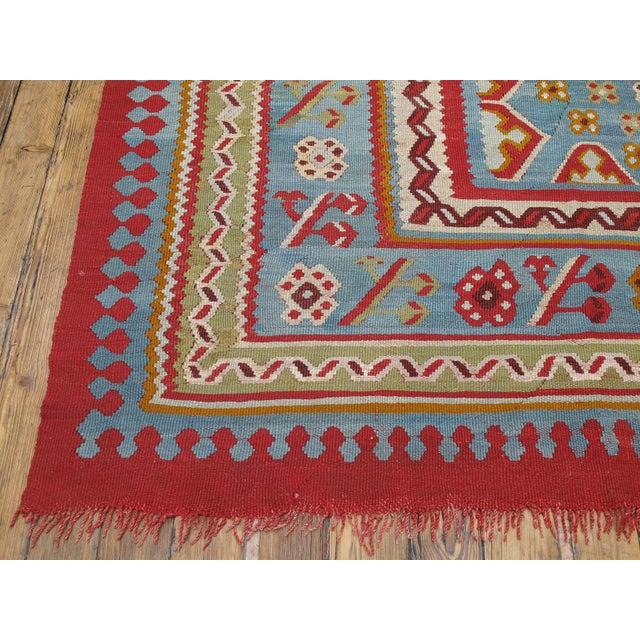 Textile Antique Oushak Kilim - 12′4″ × 14′10″ For Sale - Image 7 of 8