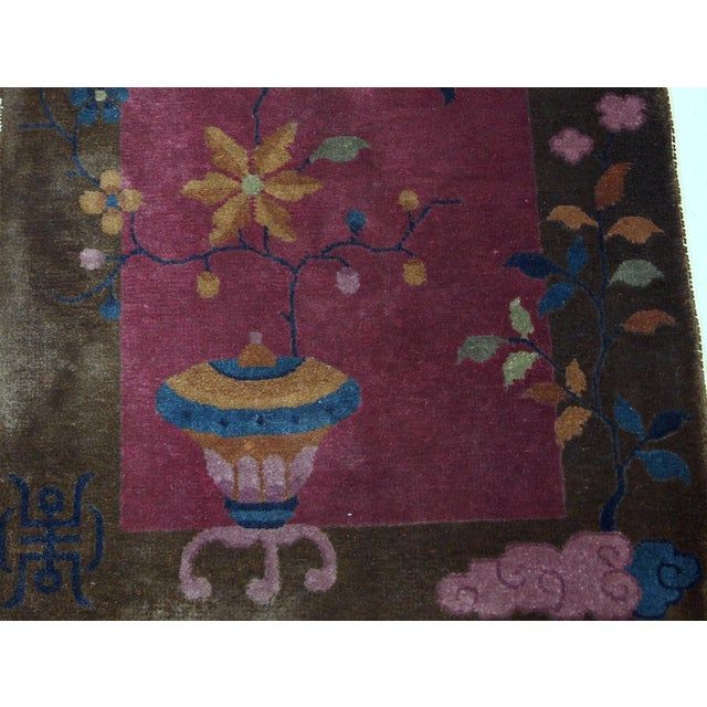 Textile 1920s Handmade Antique Art Deco Chinese Rug 1.10' X 3.10' For Sale - Image 7 of 10