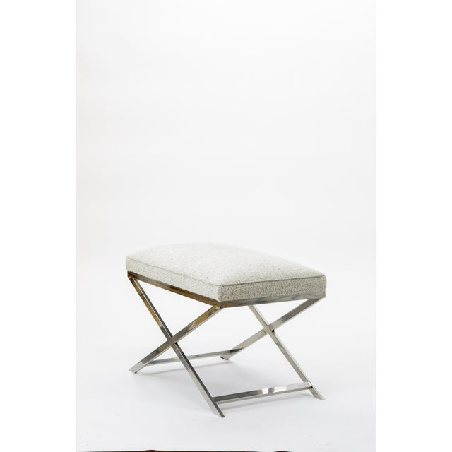 X Shaped Steel Stool Newly Covered in Maharam Cloth For Sale - Image 4 of 7