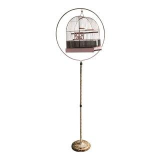 1950s Art Deco Hendryx Birdcage With Hoop Stand