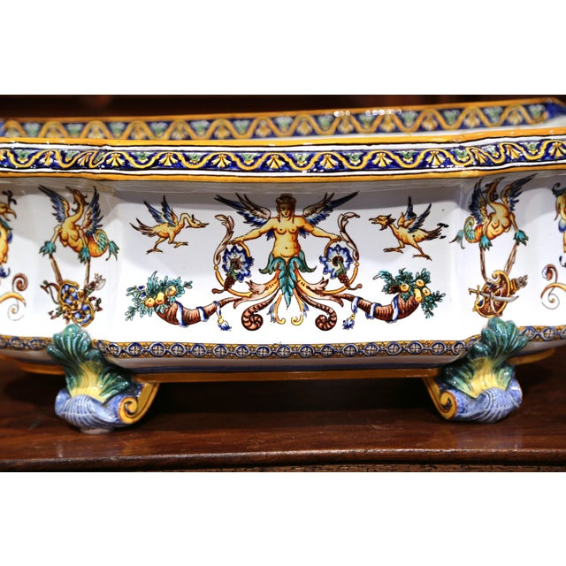 French Large 19th Century French Louis XV Hand-Painted Faience Jardinière Signed Gien For Sale - Image 3 of 11
