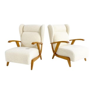 Italian Lounge Chairs, Restored in Pierre Frey Boucle For Sale