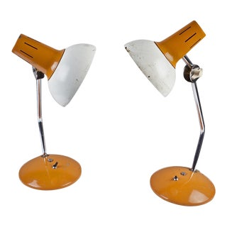 Mid-Century Ship's Nautical Adjustable Desk Lights with Original Paint, Russian - a Pair For Sale