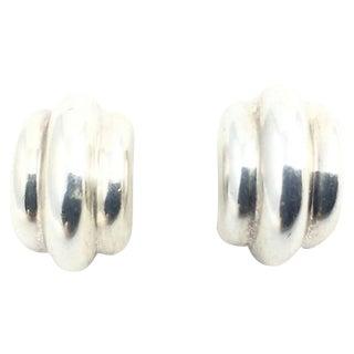 Ribbed Sterling Hoop Earrings For Sale