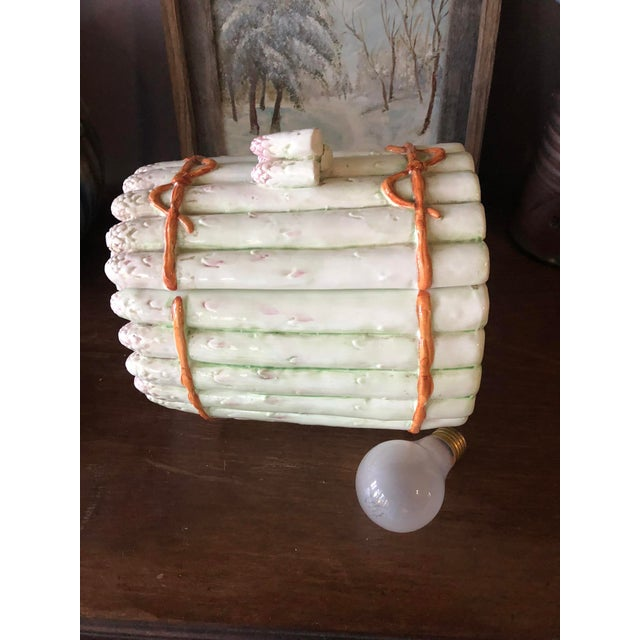 Wonderful and large piece of vintage ceramic art pottery covered jar or dish in the form of a bundle of asparagus....