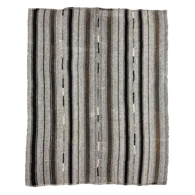 Textile 1960s Vintage Striped Gray Kilim Rug- 7′2″ × 9′ For Sale - Image 7 of 7