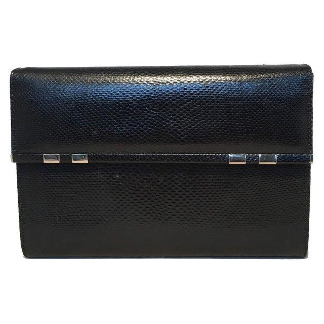FABULOUS Judith Leiber Black Lizard Wallet Wristlet Clutch in excellent condition. Black lizard leather exterior trimmed...