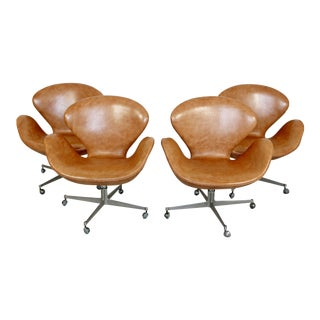 Mid Century Modern Arne Jacobsen Fritz Hansen Set 4 Leather Swivel Swan Chairs