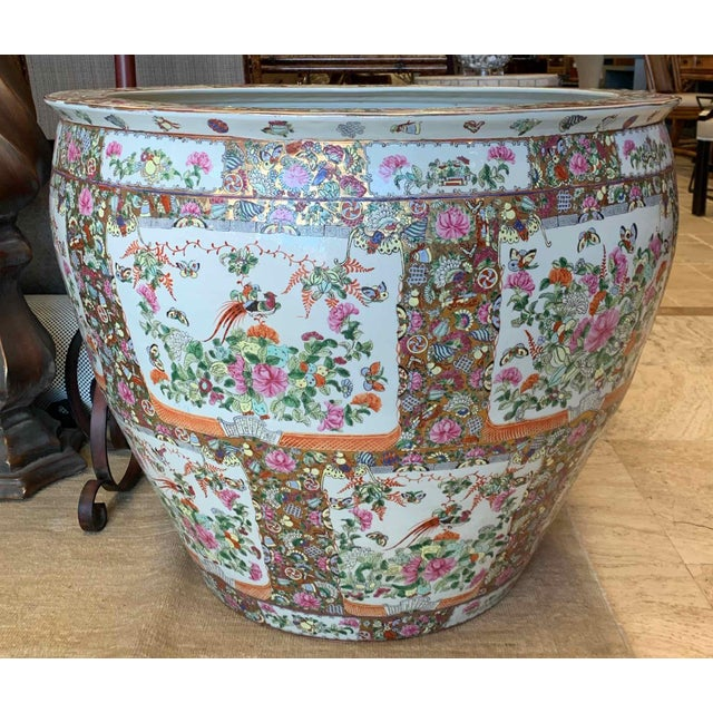 """Asian Antique Famille Rose Palace Fish Bowl 31"""" For Sale - Image 4 of 13"""