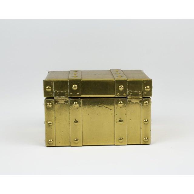 Sarreid Ltd. Sarreid Style Miniature Tabletop Brass Trunk For Sale - Image 4 of 12