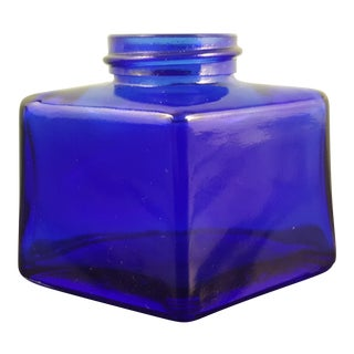 Cobalt Glass Ink Bottle by Parker For Sale