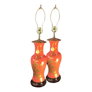 1960's Vintage Asian Influenced Fire Red Orange Table Lamps- A Pair For Sale
