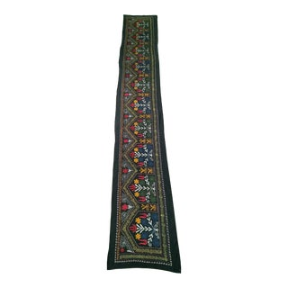 "Vintage Suzani Embroidery Wall Hanging Art or Table Runner 1' 11"" X 12' 9"" For Sale"