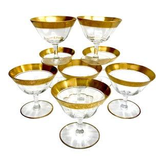 1940s Vintage Tiffin Franciscan Gold Rimmed Sherbert Cups / Champagne Coupes - Set of 8 For Sale